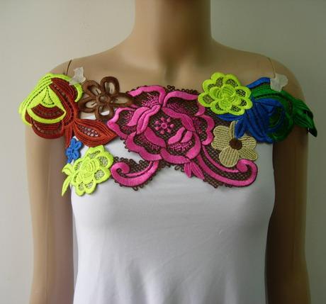 Vt276 2 neon colorful floral lace venise applique trend - Applique neon design ...