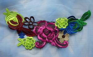 Vt276 2 neon colorful floral lace venise applique trend motif [vt276