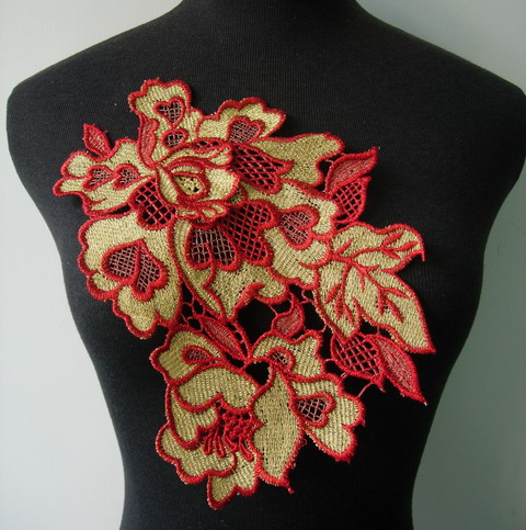 VT281 Red Gold Metallic Trim Floral Peony Lace Applique Motif