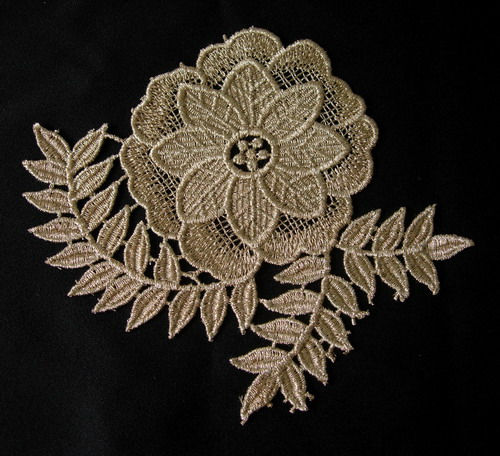 VT289 Tree Flower Metallic Trim Lace Applique Light Brass