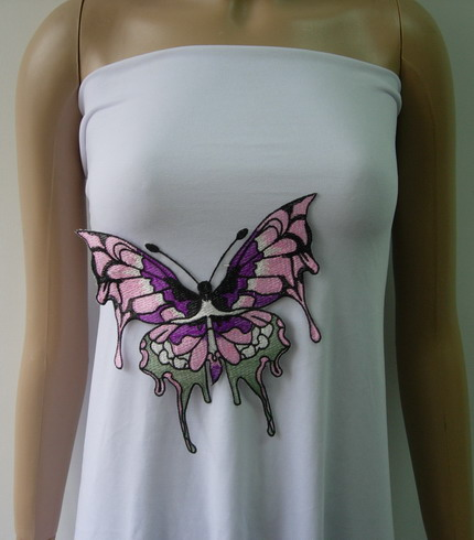 VT309 Colorful Cute Butterfly Front Embroidered Applique Motif