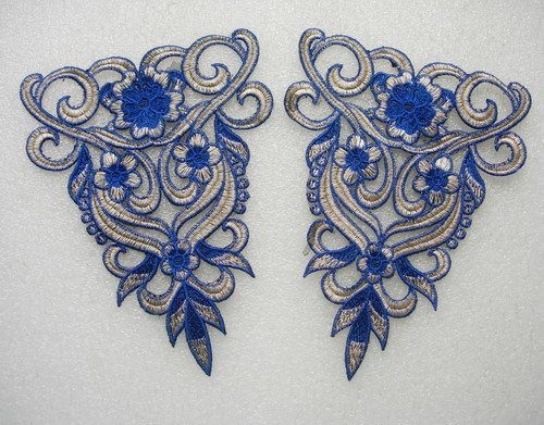 VT317 Blue Vintage Style Epaulette Shoulder Venise Applique Set