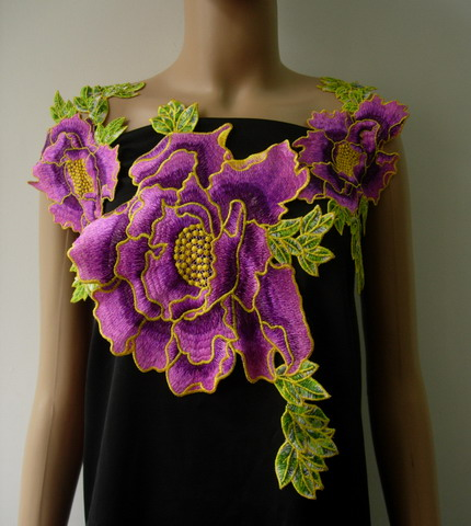 VT345 Set Floral Peony Venise Applique Front/Epaulette/Shoulder