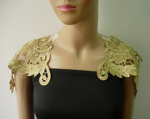 VT346 Floral Metallic Gold Trims Applique Epaulette/Shoulder Set