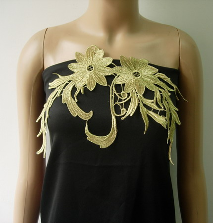 VT349 Curl Floral Leaves Metallic Gold Trims Applique Sew On