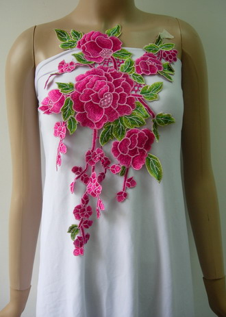 VT355 Fuchsia Floral Tree Venise Applique Sew On Trendy Fashion