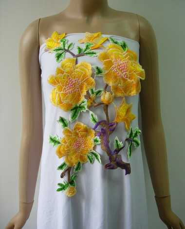 VT358 Yellow-tone Floral Branches Venise Applique Sew On Dress