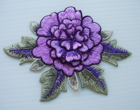 VT379 Purple Tier Flower Peony Rose Daisy Venise Applique 2pcs