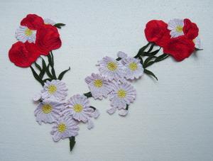 Vt388 long red white floral flower venise venice applique motif