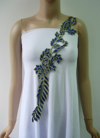 VT394 Blue Gold Long Leaf Leaves Venise Applique Embellishment