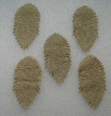 VT413 Leaf Leaves Lace Metallic Trimming Applique Light Gold 5pc