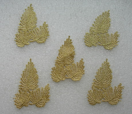 VT414 Tree Leaf Lace Metallic Trimming Applique Gold 5pcs