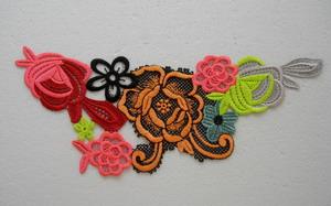 Vt neon multicolored floral lace venise applique trend motif