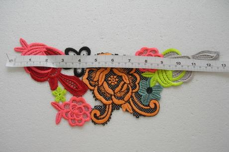 Vt424 neon multicolored floral lace venise applique trend motif