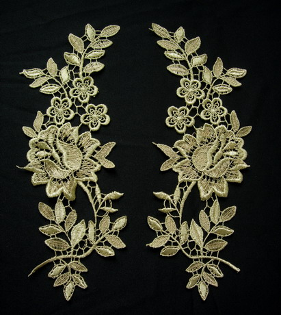 VT426 Mirror Pair Tree Floral Metallic Gold Trim Venise Applique
