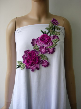 VT446 Purple-Tone Flower Blooms Embroidered Venise Applique