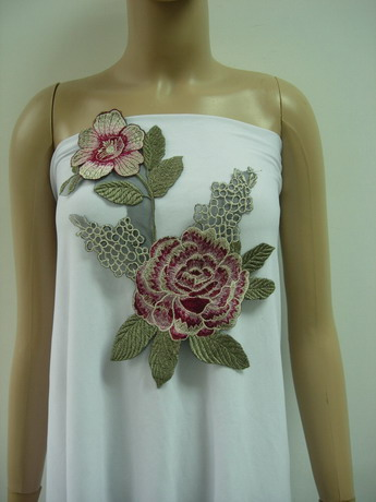 VT448 Rose Peony Flower Floral Embroidered Venise Applique