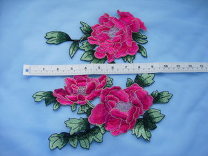 VT212-2 Red Gold Trim Layered Foral Peony Venise Venice Applique Sew On Dress