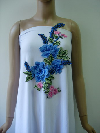 VT468 Blue-tone 3D Layered Peony Floral Lace Venise Applique