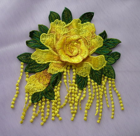 VT499 Fringed Tier Rose Floral Venise Applique Motif Yellow