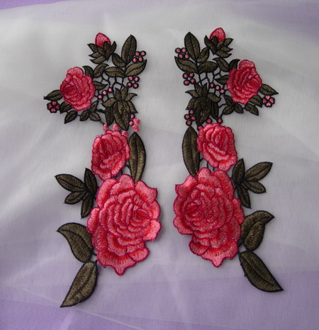 VT501 Red-tone Mirror Pair Floral Venise Applique Motif