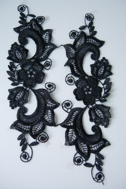VT53-2 Pair Mirror Flora Lace Venise Venice Applique Motif Black