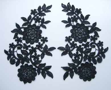 VT92-2 Large Mirror Pair Floral Lace Venise Venice Applique Blk