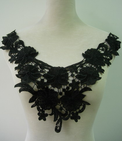 VK105-2 Floral Flower Collar Front Lace Venise Applique Black