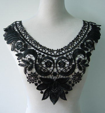 VK139-2 Floral Retro Lace Venise Applique Collar Yoke Black