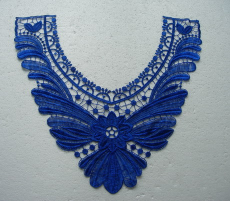 VK143-5 Lace Venise Venice Applique Floral Leaves Collar Blue