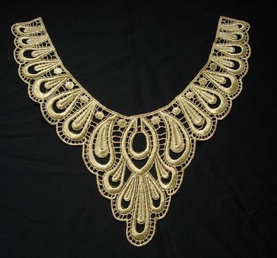 """Venise Lace Yoke Applique Metallic Gold Large 10/"""" x 10/"""" approx"""
