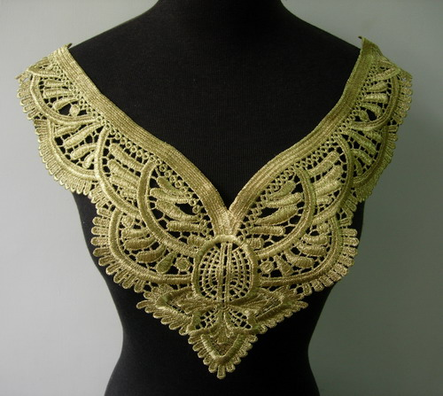 VK249 Vintage Collar Bodice Metallic Gold Trim Venise Applique