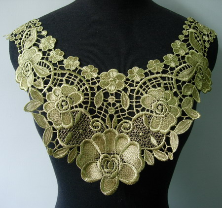 VK254 Floral Collar Yoke Metallic Gold Lace Trim Venise Applique