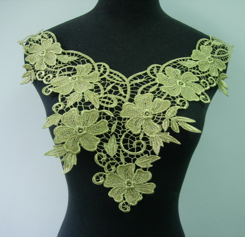VK269 Lace Floral Leaf Neckline Yoke Venise Venice Applique Gold
