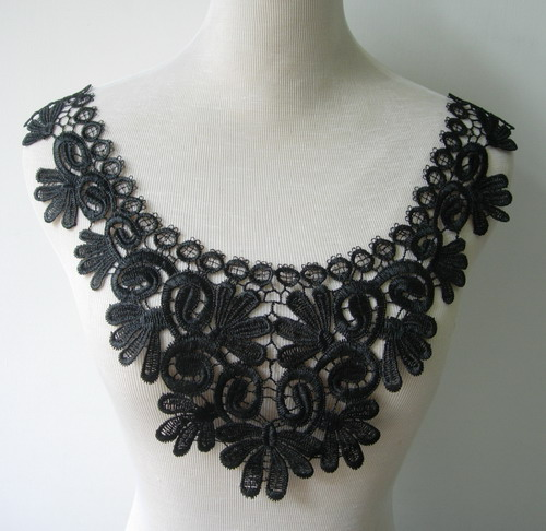 VK280 Floral Collar Neckline Lace Venice Venise Applique Black