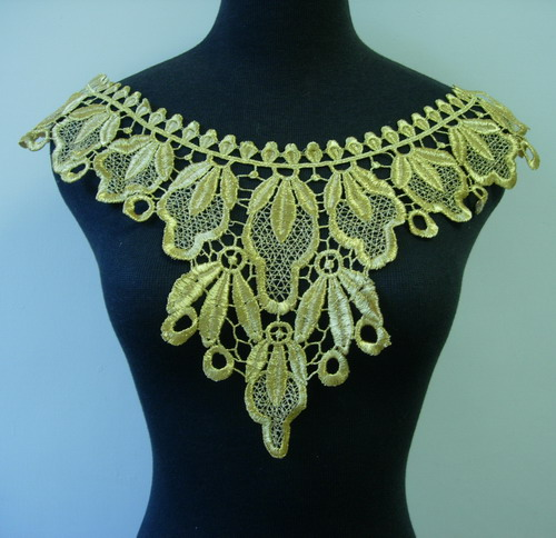 VK284 Gold Metallic Trim Floral Neck Yoke Lace Venise Applique