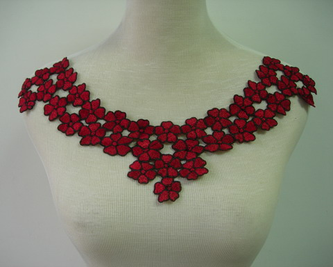 VK309 Pretty Flowers Collar Neckline Lace Venise Applique Maroon