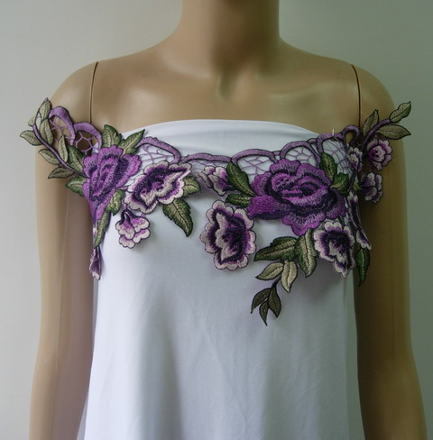 VK327-2 Purple Peony Floral Collar Neck Lace Venise Applique