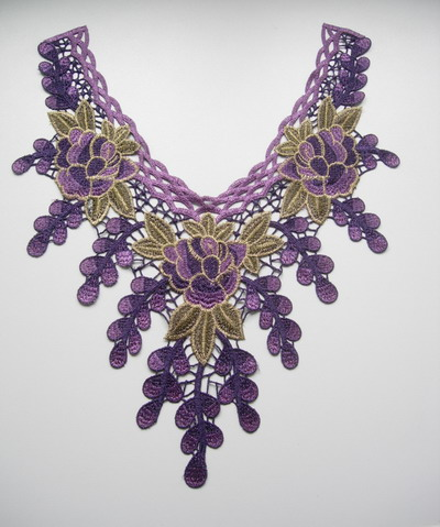 VK333-4 Purple Tassel Floral Leaf Collar Neck Venise Applique