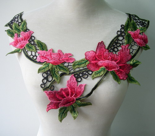 VK348 Leaves Flowers Collar Yoke Embroidered Venise Applique
