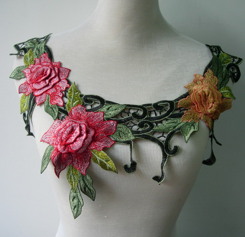 VK350 Colorful Layered Floral Collar Embroidered Venise Applique