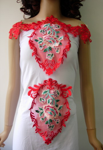 VK384 Red Colorful Floral Front Back Organza Embroidery Applique