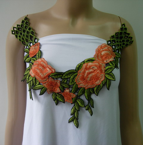 VK428 Orange Leaves Rose Collar Neck Lace Venise Applique