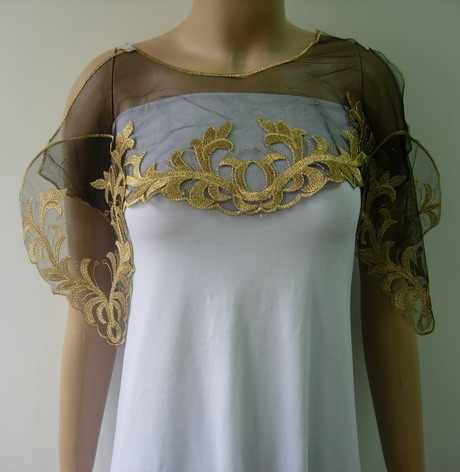 VK436 Floral Collar Epaulette Trim Tulle Applique Brass-gold Set