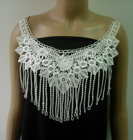 VK442 Trendy Lace Venise Fringed Neck Front Applique Off-white