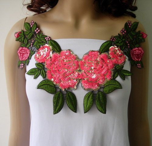 VN142 Pink Floral Rose Collar Embroidered Sequined Applique
