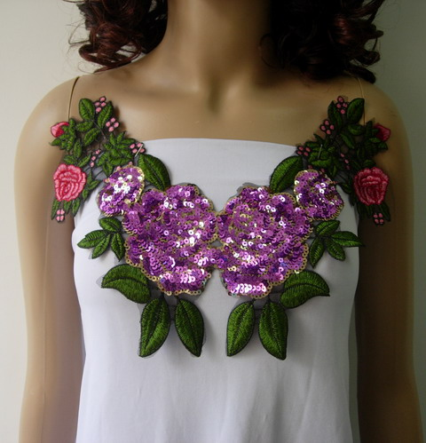 VN144 Lavender Floral Rose Collar Embroidered Sequined Applique