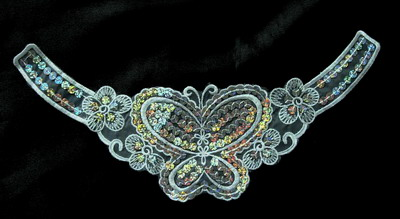 VN81 Venise Sequin Applique Butterfly Flowers Collar 2pc